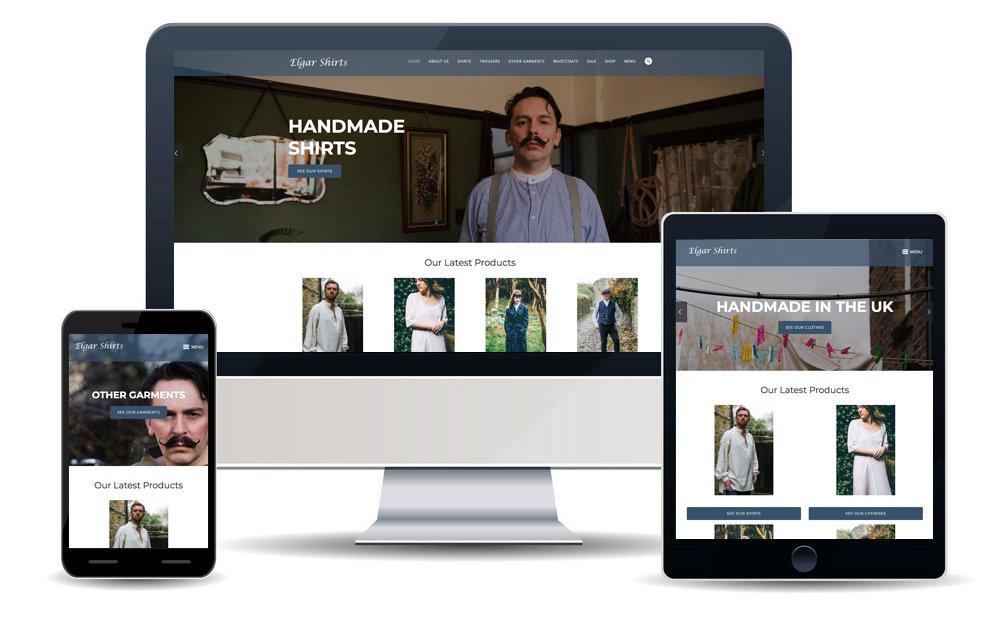 Elgar Shirt Screens Website