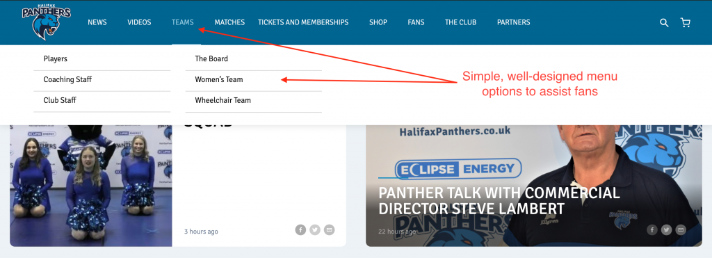 Halifax Panthers Website - Navigation
