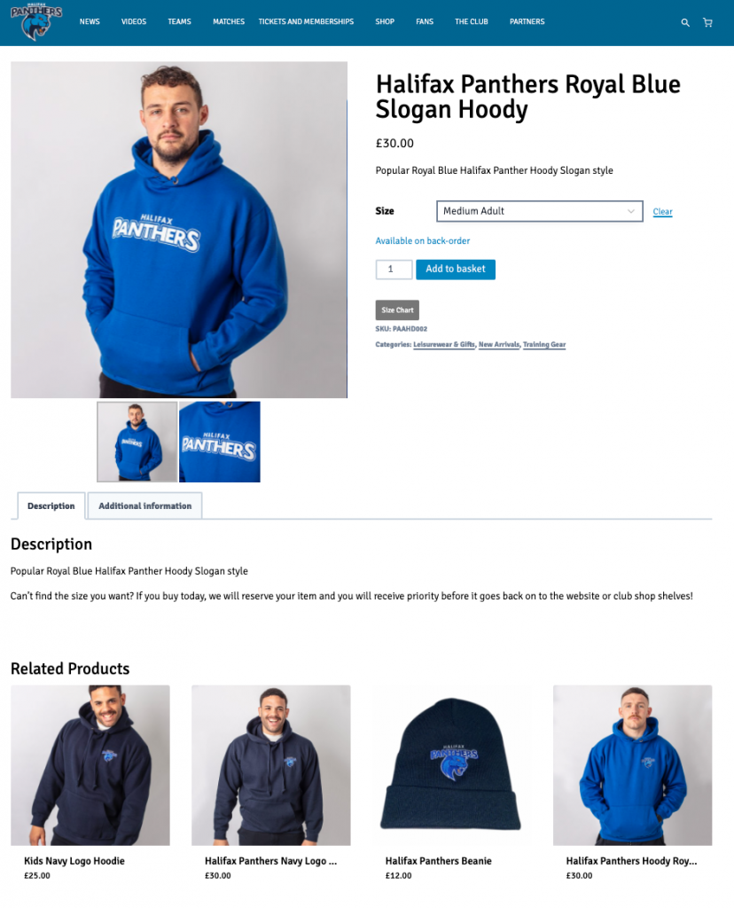 Halifax Panthers Shop - Product Example